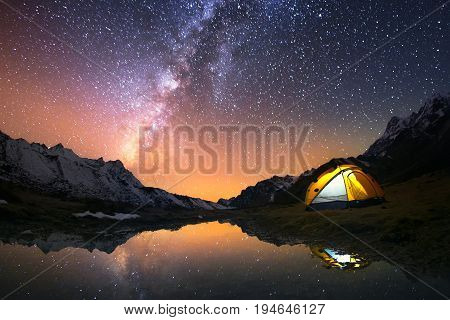 5 Billion Star Hotel. Camping in the mountains under the starry night sky.