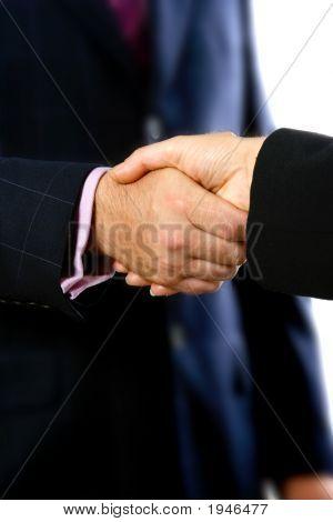 Business Handshake Over White