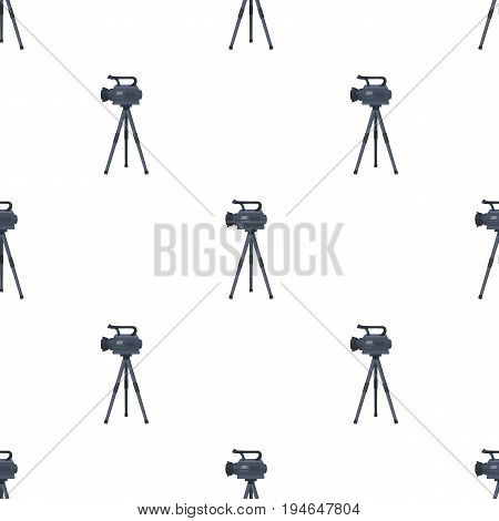 Movie camera on a tripod. Making a movie single icon in cartoon style vector symbol stock illustration .