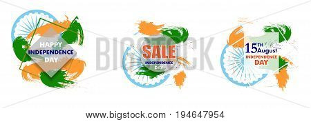 Indian Independence Day with Ashoka wheel 15 th august. Sign Sale for banner or poster. Isolated on white background. The colors of the national flag. Vector Illustration.