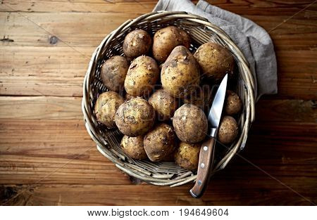 New Potatoes in a Basket (organic potatoes)