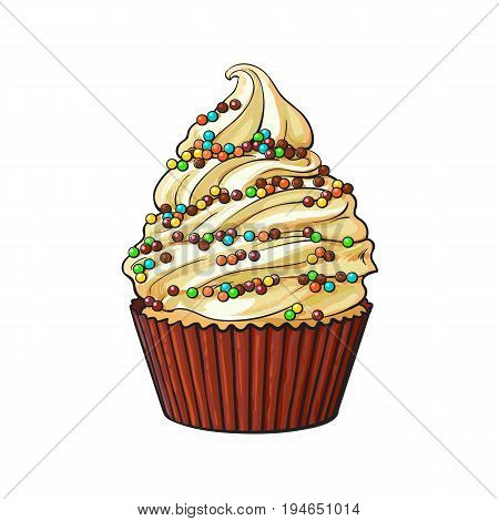 Hand drawn cupcake with perfect cream swirls and colorful sprinkles, sketch style vector illustration isolated on white background. Realistic hand drawing of cupcake with cream and sprinkles