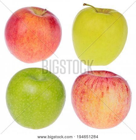Fuji, Golden, Granny Smith and Idared apple isolated on white background
