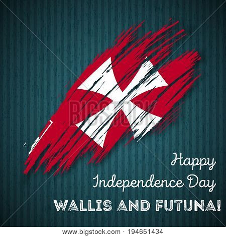 Wallis And Futuna Independence Day Patriotic Design. Expressive Brush Stroke In National Flag Colors