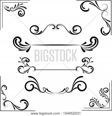 set of design elements vector postal, routine, paper, old-fashioned