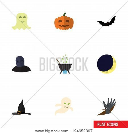 Flat Icon Halloween Set Of Zombie, Ghost, Superstition And Other Vector Objects. Also Includes Bat, Corpse, Hand Elements.