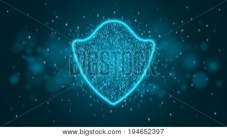 High-tech computer concept. A blue glowing neon shield made of binary code. The system is protected. Vector illustration