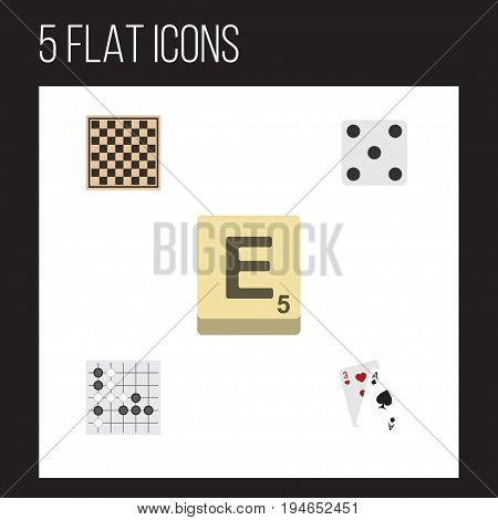 Flat Icon Games Set Of Chess Table, Ace, Mahjong And Other Vector Objects. Also Includes Checkerboard, Play, Backgammon Elements.