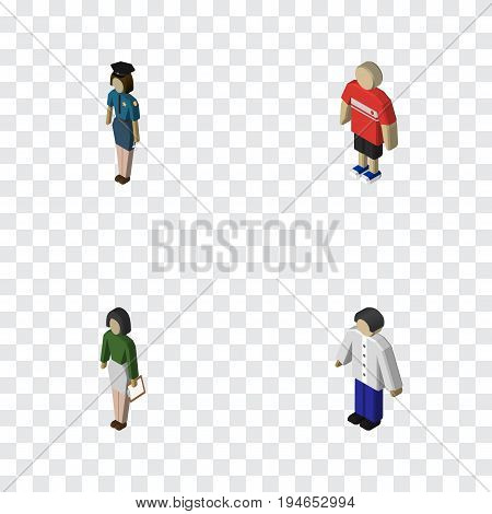 Isometric Human Set Of Male, Pedagogue, Policewoman And Other Vector Objects. Also Includes Policewoman, Guy, Pedagogue Elements.