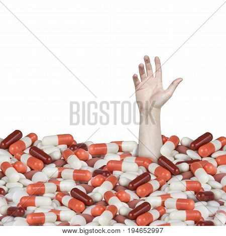 drowning in drugs man sinking in pills hand calling for help