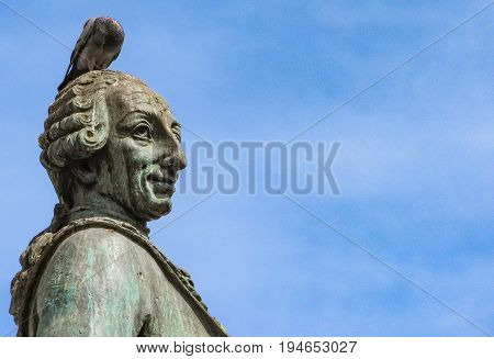 A pigeon landed over Carlos III statue in Madrid