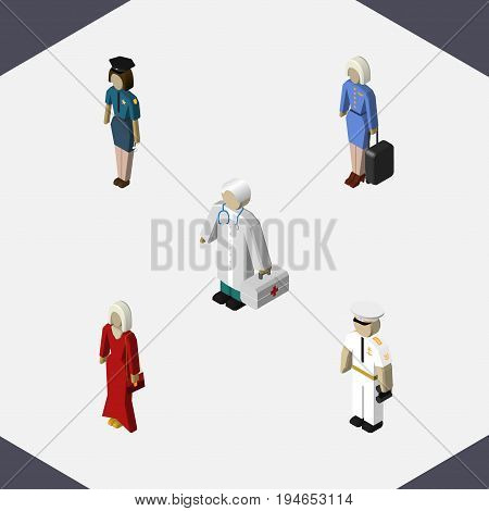 Isometric Human Set Of Seaman, Medic, Policewoman And Other Vector Objects. Also Includes Hostess, Girl, Doctor Elements.
