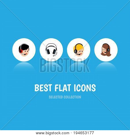 Flat Icon Call Set Of Service, Call Center, Operator And Other Vector Objects. Also Includes Headphone, Operator, Earphone Elements.