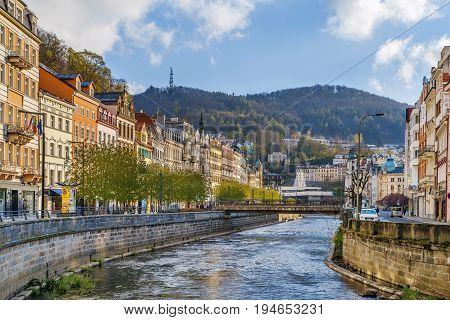 Tepla river in Karlovy Vary city center Czech republic