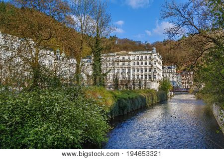 View of Tepla river with Grandhotel Pupp in Karlovy Vary; Czech republic
