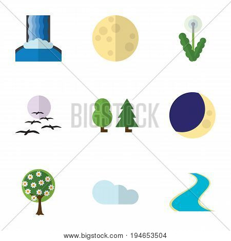 Flat Icon Bio Set Of Overcast, Half Moon, Tributary And Other Vector Objects. Also Includes Bird, Crescent, Tree Elements.