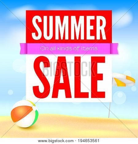 Selling ad banner, vintage text design. Fifty percent summer hot discounts, The sandy beach background with sun umbrella and inflatable ball. Template for online shopping, advertising actions.