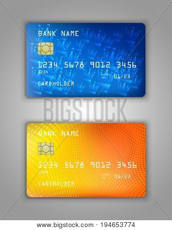 Vector Set Realistic Credit Bank Card Mockup. Crown, Spiral, Dots, Bubbles, Halftone, Orange, Blue