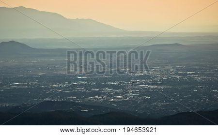 A Santa Fe New Mexico Aerial Shot Taken at Dusk