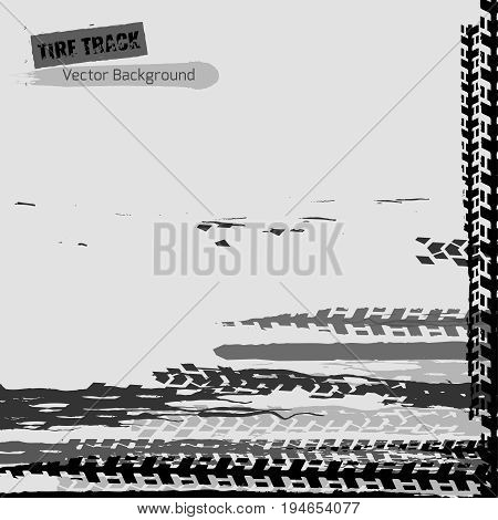 Tire tracks vector illustration. Grunge automotive background useful for poster, print, flyer, book, booklet, brochure and leaflet design. Editable graphic image in monochrome white and grey colors.