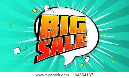 Big sale pop art splash background, explosion in comics book style. Advertising signboard, price reduction, sale with halftone dots, cloud, beams light on backdrop. Vector for ad, covers, posters.