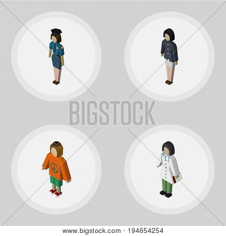 Isometric Person Set Of Doctor, Policewoman, Lady And Other Vector Objects. Also Includes Doctor, Policewoman, Girl Elements.