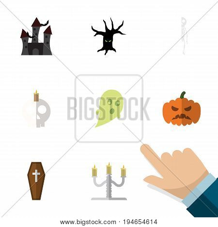 Flat Icon Festival Set Of Cranium, Skeleton, Fortress And Other Vector Objects. Also Includes Gourd, Casket, Candle Elements.