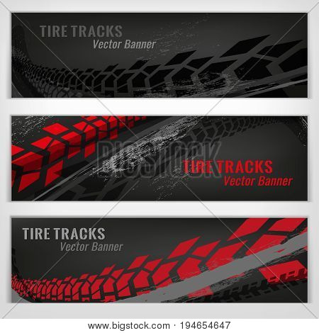 Vector automotive banners template. Grunge tire tracks backgrounds for landscape poster, digital banner, flyer, booklet, brochure and web design. Editable graphic image in grey and white colors