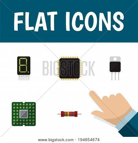 Flat Icon Electronics Set Of Receiver, Resistance, Display And Other Vector Objects. Also Includes Microprocessor, Receiver, Electronics Elements.