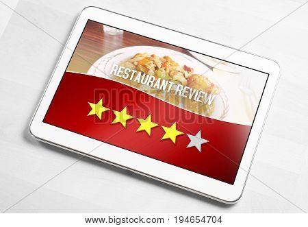 Good hotel review from satisfied and happy customer and reviewer. Rated four out of five stars. Mobile device on table with an imaginary criticism application, social media or website on screen.