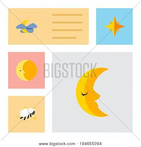 Flat Icon Bedtime Set Of Midnight, Moon, Night And Other Vector Objects. Also Includes Asterisk, Nighttime, Midnight Elements.