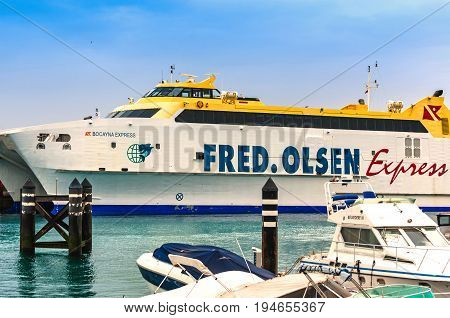 Playa Blanca, Lanzarote, Canary Islands Spain - December 13, 2014: The Ferry Bocayna Express,Fred Olsen Line in the harbour at Playa Blanca Lanzarote.
