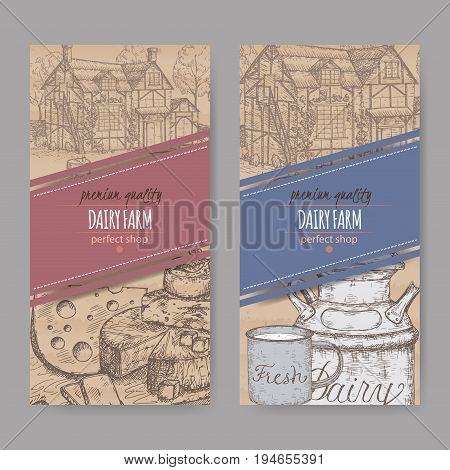 Two dairy farm shop labels with farmhouse, milk can, mug and cheese plate. Placed on cardboard texture. Includes hand drawn elements.