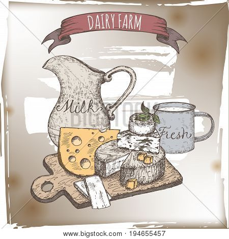 Dairy farm template with cheese plate, milk pitcher and enamel cup. Includes hand drawn ribbon banner.