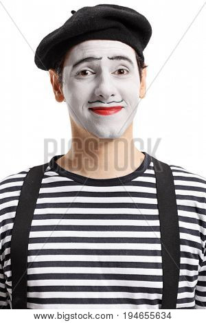 Portrait of a mime artist isolated on white background