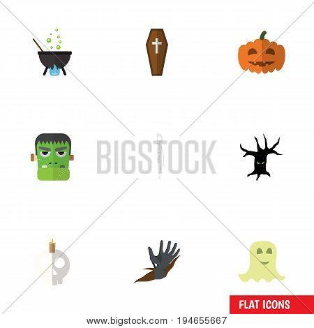 Flat Icon Festival Set Of Zombie, Casket, Spirit And Other Vector Objects. Also Includes Corpse, Skeleton, Cauldron Elements.