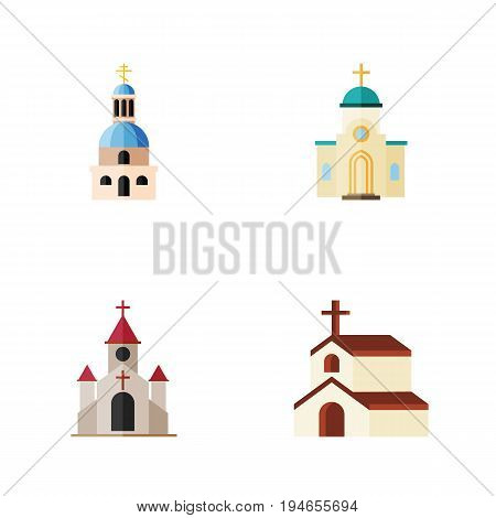 Flat Icon Church Set Of Traditional, Church, Religious And Other Vector Objects. Also Includes Catholic, Faith, Architecture Elements.