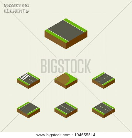 Isometric Way Set Of Without Strip, Unilateral, Single-Lane And Other Vector Objects. Also Includes Single, Earthquake, Flat Elements.
