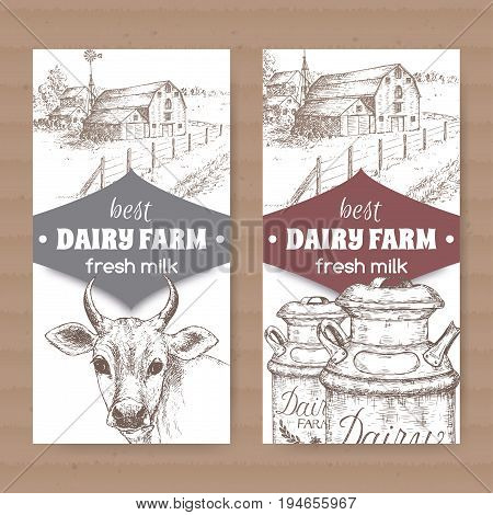 Two dairy labels with farmhouse, cow, milk cans. Placed on cardboard texture. Includes hand drawn elements.