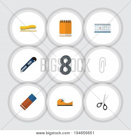Flat Icon Tool Set Of Notepaper, Knife, Sticky And Other Vector Objects. Also Includes Cutting, Memo, Staple Elements.