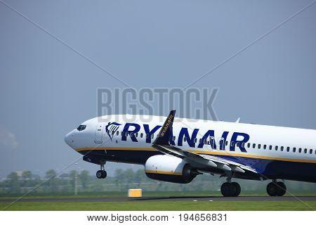 Amsterdam the Netherlands - May 6th 2017: EI-FZL Ryanair Boeing 737-800 takeoff from Polderbaan runway Amsterdam Schiphol Airport