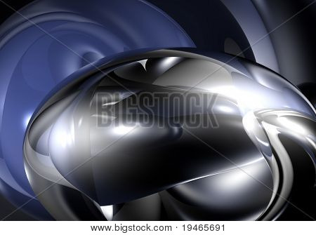 metall bubble in blue light