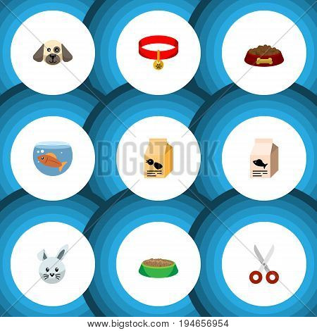 Flat Icon Animal Set Of Kitty Collar, Nutrition Box, Fishbowl And Other Vector Objects. Also Includes Bird, Shears, Rabbit Elements.