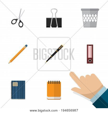 Flat Icon Stationery Set Of Dossier, Copybook, Paper Clip And Other Vector Objects. Also Includes Writing, Memo, Tool Elements.