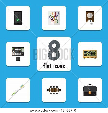 Flat Icon Lifestyle Set Of Router, Clock, Bureau And Other Vector Objects. Also Includes Clock, Suitcase, Bureau Elements.