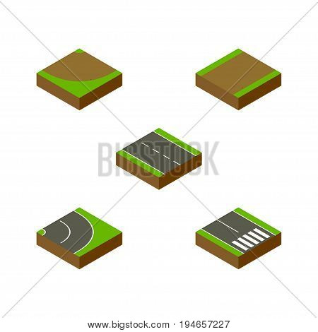 Isometric Road Set Of Single-Lane, Turn, Pedestrian And Other Vector Objects. Also Includes Pedestrian, Strip, Footpath Elements.