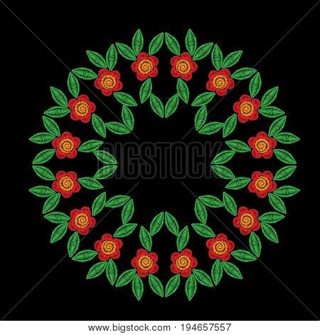 Embroidery stitches imitation round frame pattern with folk flower. Fashion embroidery on black background. Embroidery flower vector.