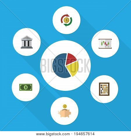 Flat Icon Finance Set Of Bank, Counter, Graph And Other Vector Objects. Also Includes Calculator, Counter, Greenback Elements.