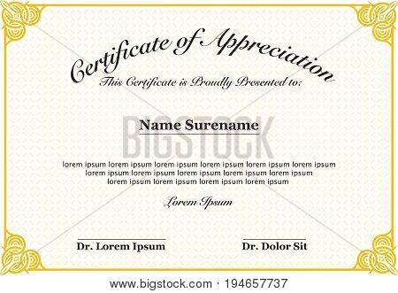 Certificate of Appreciation with text & Blank