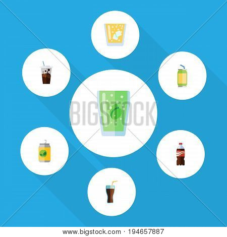 Flat Icon Soda Set Of Bottle, Fizzy Drink, Cup And Other Vector Objects. Also Includes Coca, Lemonade, Cola Elements.
